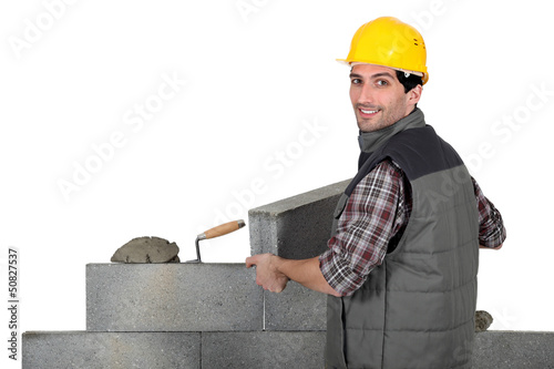 Bricklayer hard at work