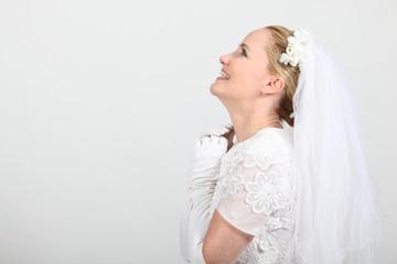 Studio profile shot of a bride