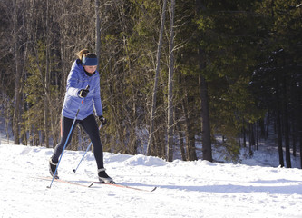 Skier on a walk in the park