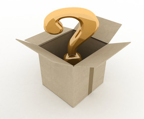 open box with question mark inside. 3d illustration