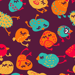 Seamless cute vector pattern with sleeping chickens