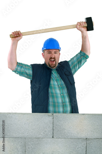 Animated builder holding sledge-hammer