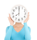 businesswoman with clock over her face