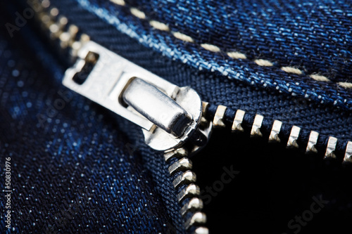 Close-up from blue jeans with zipper