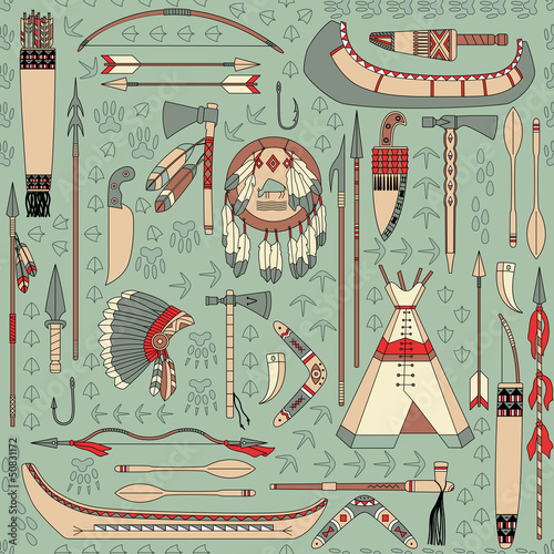seamless pattern with Native American attributes