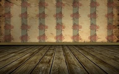 Tapetenraum - Rote Blumen graue Streifen