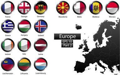 Glossy metal flag buttons, European countries, part 2