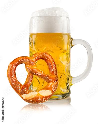 Leinwandbild Motiv oktoberfest beer with pretzel