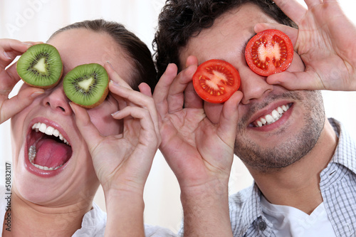 Couple making funny faces