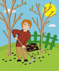 Woman with a rake cleans a garden