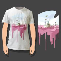 Beautiful print on shirt.