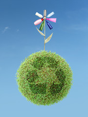 Eco flower on green recycle planet