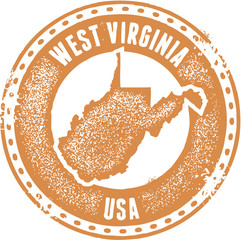 Vintage West Virginia USA State Stamp