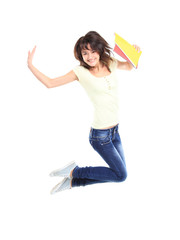 female student jumping of success isolated