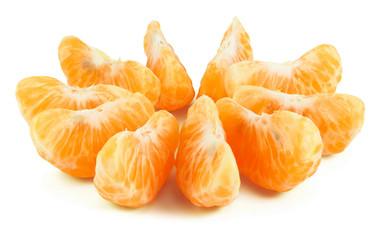 Peeled segments of tangerine isolated on white