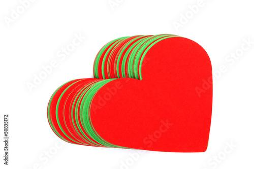 Rote und grüne Herzen