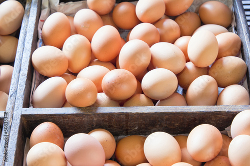 Farm Fresh Chicken Eggs in Wooden Crates