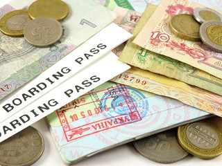Visas, passports, passport stamps, foreign currency and coins