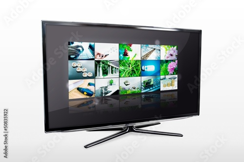 Leinwanddruck Bild Glossy widescreen high definition tv screen with video gallery.