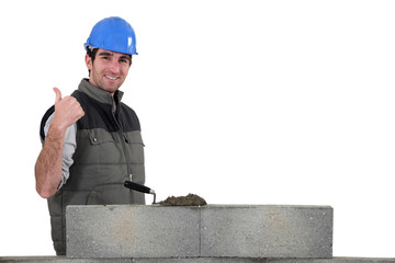Thumbs up from a bricklayer