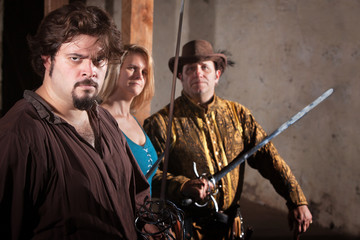 Three Sword Fighters in Dungeon