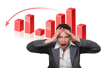 Businesswoman with a falling graph