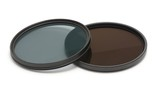 Neutral density and polarizing filters on a white background.