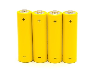 Row of yellow AA batteries on a white background.