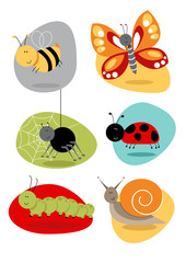 Bugs/Insects set cute characters