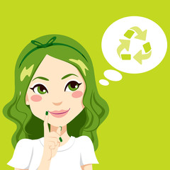 Girl Thinking Green