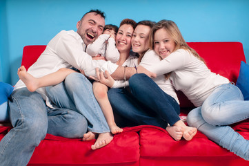 happy family on the couch