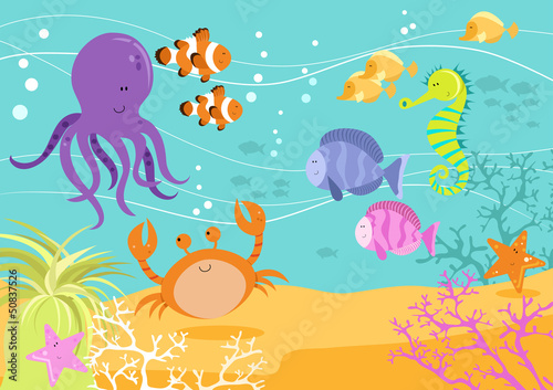 Sea Creatures Underwater Scene