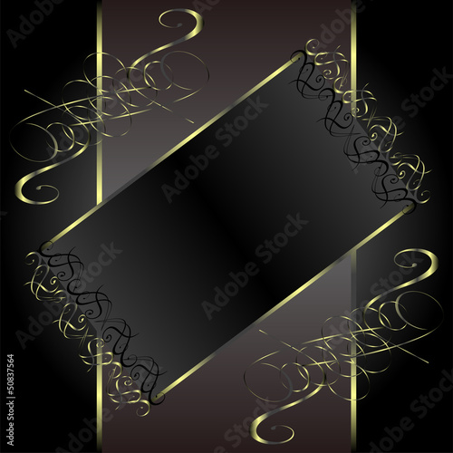 vintage gold floral frame with damask background