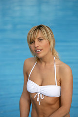 Blond woman in white bikini