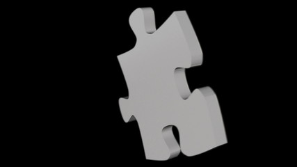 Single puzzle piece rotating in 3D space looping