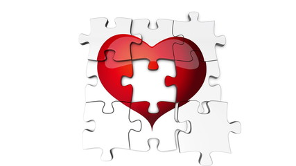 Puzzle pieces getting put together to reveal a heart