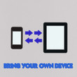 Bring Your Own Device concept with stitch style on fabric backgr