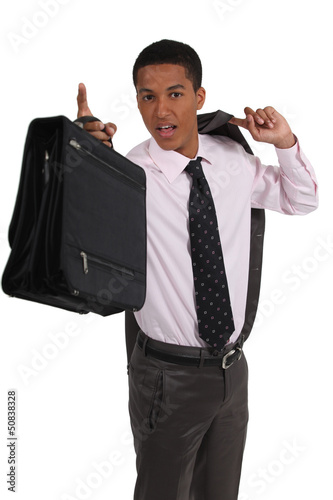 young black executive holding briefcase