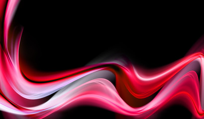 Awesome bright pink waves on black background