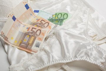 Love for money - Lingerie and money concept
