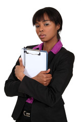 African woman with portfolios