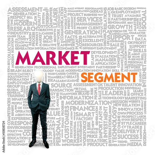 Business word cloud for business and finance concept, Market Seg