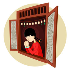 chinese girl praying in the window