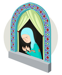 arabic/moslem girl praying inthe window