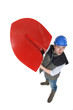 Laborer lifting shovel