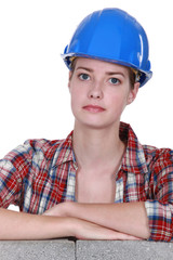 portrait of female bricklayer