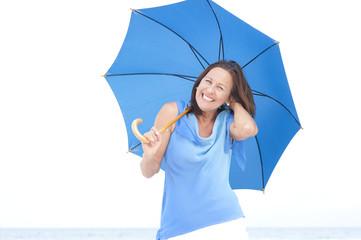 Funny attractive mature woman blue umbrella