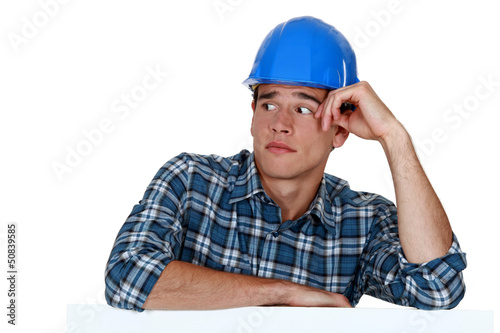 Anxious young builder