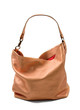Copper metallized leather purse with red lining