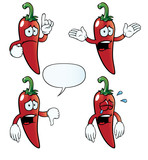 Collection of crying chili peppers with various gestures.